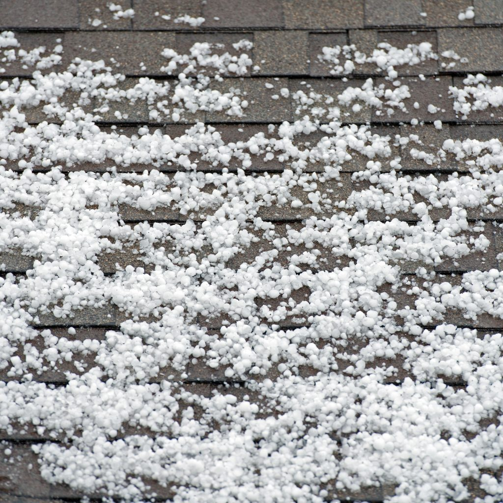 Hail on a Roof After a Storm