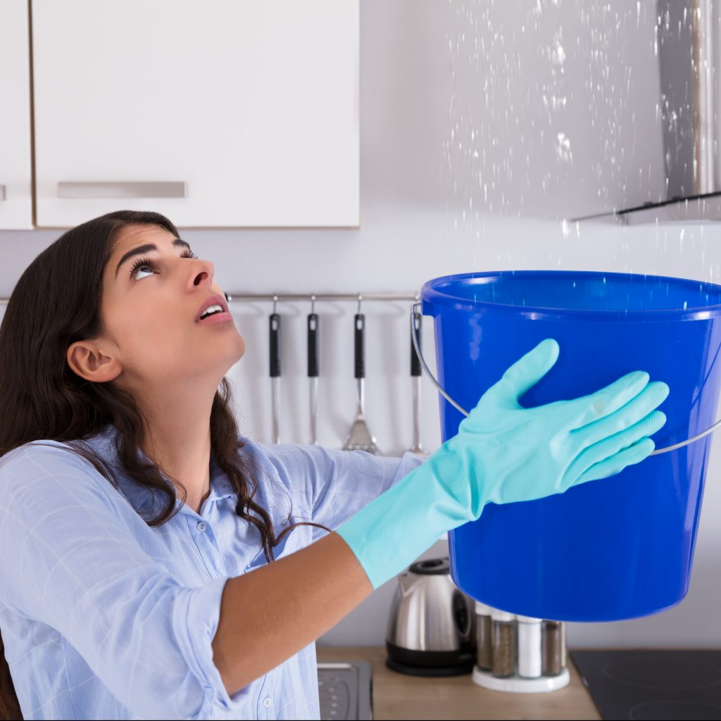 Woman Holding Bucket While Water Droplets Leak From Ceiling